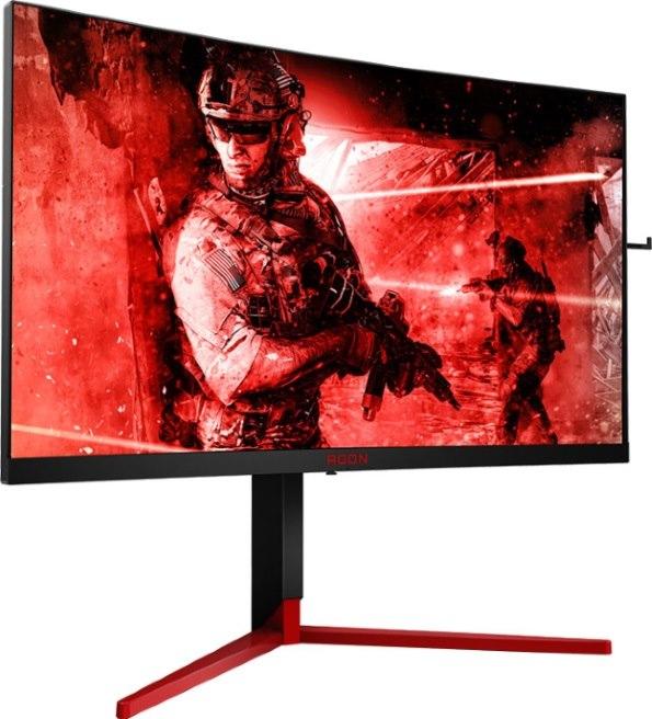 Aoc Agon 27' 1MS 165Hz 2560X1440 G-SYNC Ultra-Thin Curved Gaming Monitor W/Has - Hdmi1.4/Dp1.2 Speaker VESA75mm LightFX/DTS