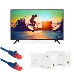 """Philips 6133, 139 CM (55"""") 4K Ultra Slim Smart Led TV With Free Netcomm NP511 &Amp; Patch Leads"""
