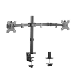 Brateck Dual Screens Economical Double Joint Articulating Steel Monitor Arm For 13''-32'', Up To 8KG, 360°Screen Rotation