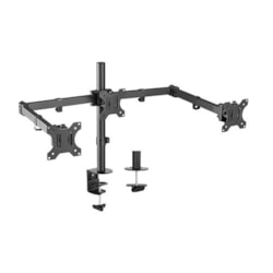 Brateck Triple Screens Economical Double Joint Articulating Steel Monitor Arms, Extended Arms & Free Rotated Double Joint, For 13'-27' Up To 7KG.