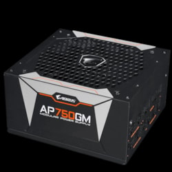 Gigabyte Ap750gm Aorus 750W Atx Psu Power Supply 80+ Gold Modular >90% 135MM Fan Black Flat Cables Single +12V Rail Japanese Capacitors >100K HRS MTBF
