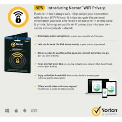 Norton Wifi Privacy 1.0 VPN Service - 1 User 1 Device - 12 Month License With Card/ DVDSLV
