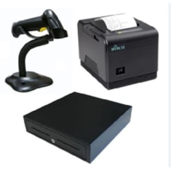 Birch CP-Q3 80MM Thermal Receipt Printer Built-In Ethernet, Usb, Serial With Psu. Black Colour Bundled With Cash Drawer And Scanner.