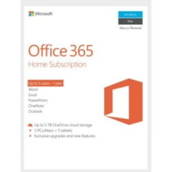 Microsoft Office 365 Home , License Software, 1 Year Subscription, 5 Devices, 32Bit/64Bit, Medialess, PC &Amp; Mac.