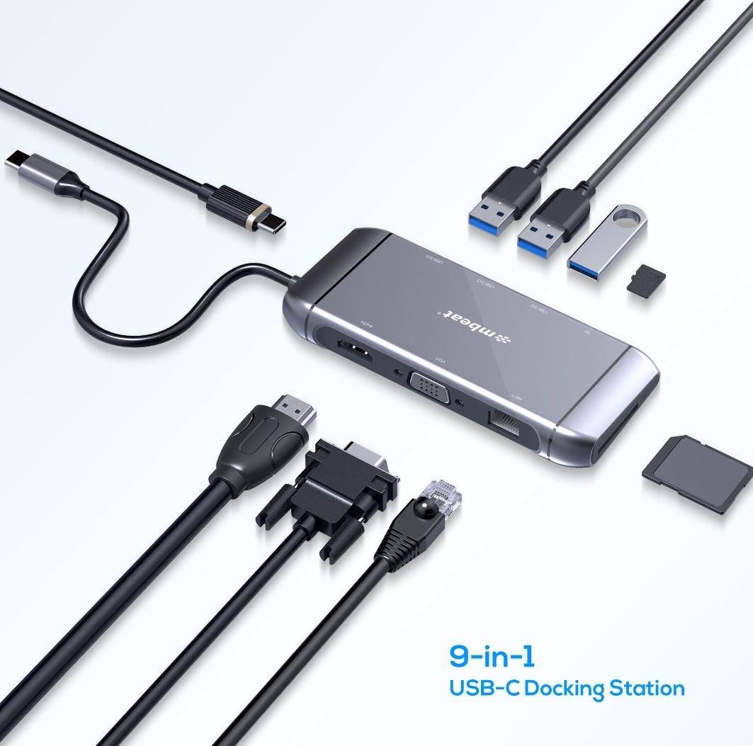 Mbeat Elite X9 9-In-1 Multifunction Usb-C Docking Station Hdmi, Vga, Usb-C PD, Usb 3.0 X 3