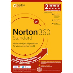 Norton 360 Standard, 10GB, 1 User, 2 Devices, 12 Months, PC, Mac, Android, Ios, DVD
