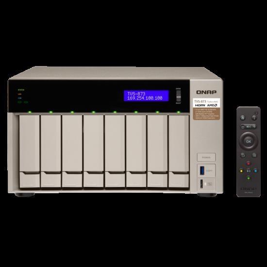 Qnap TS-873-8G,8 Bay Nas (No DISK),m.2 SSD SLOT(2),8GB,RX-421ND,GbE(4),TWR,2YR