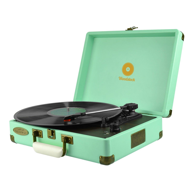 Mbeat Woodstock Retro Turntable Player – Tiffany Blue