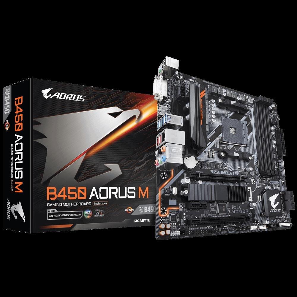 Gigabyte B450 Aorus M Ryzen Am4 Matx Motherboard 4xDDR4 3xPCIE 1xM 2 Dvi  Hdmi Raid GbE Lan 6xSATA 8xUSB3 1 Quad CrossFire RGB Fusion