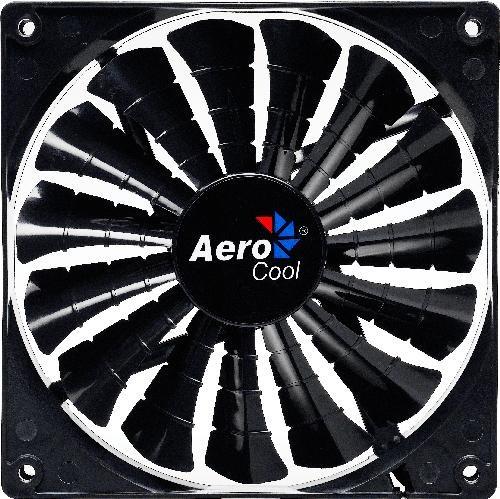 Aerocool Shark Fan 14cm-Black, 15-Blade Design, Fluid Dynamic Bearing, Noise Reduction'