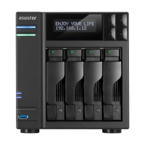 Asustor 4-Bay Nas, Hdmi Intel Celeron Quad-Core, 4 GB So-Dimm DDR3L, GbE X 2, Usb 3.0 & Esata, WoL, Aes-Ni Hardware Encryption