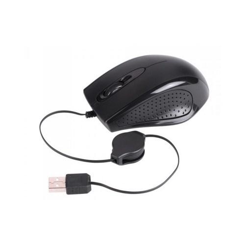 Laser Mouse-Z600 Usb Optical 3D Mouse, Black, Retractable