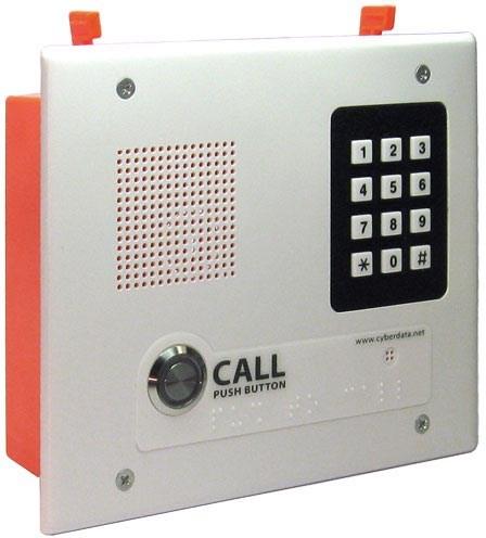 CyberData Single Button Flush Mounted VoIP Intercom With Keypad, PoE And Signal White Housing