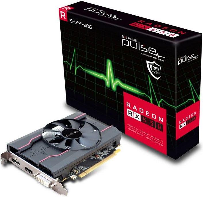 Sapphire Amd Pulse RX 550 2GB Gaming Video Card - GDDR5 Dp/Hdmi/Dvi Amd Eyefinity 1071MHz 640 Stream Processors