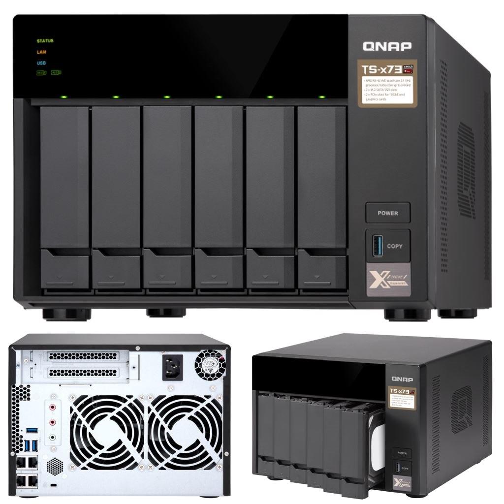 Qnap TS-673-8G,6 Bay Nas (No DISK),m.2 SSD SLOT(2),8GB,RX-421ND,GbE(4),TWR,2YR