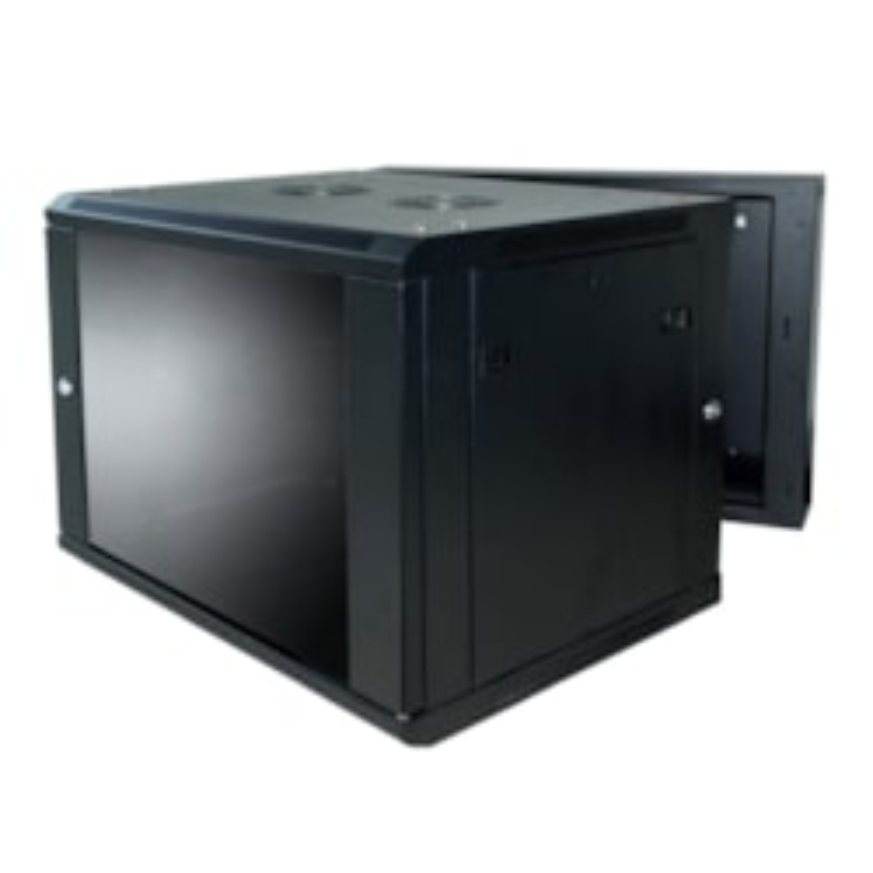 LinkBasic 12U, 600x550x635mm,Smokey-gray Glass Door With Hinged Rear Access, Black