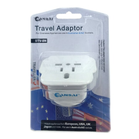 Generic Sansai Travel Adapter For 240V Equipment From Britain/ Usa/ Europe/ Japan/ China/ Hongkong/ Singapore/ Korea