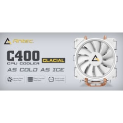 Antec C400 Glacial White Air Cpu Cooler 77 CFM, Intel 775, 115X, 1366, 2011, 2066, Amd: Am2, Am2+, Am3, Am3+, FM1, FM2, FM2+ 3 Years Warranty