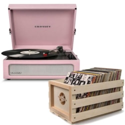 "Crosley ""Crosley Voyager Portable Turntable - Amethyst + Free Record Storage Crate"""