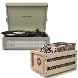 "Crosley ""Crosley Voyager Portable Turntable - Sage + Free Record Storage Crate"""