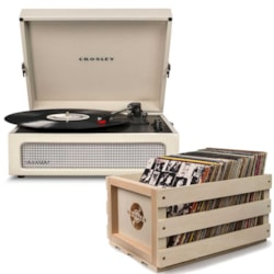 "Crosley ""Crosley Voyager Portable Turntable - Dune + Free Record Storage Crate"""