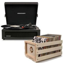 "Crosley ""Crosley Voyager Portable Turntable - Black + Free Record Storage Crate"""