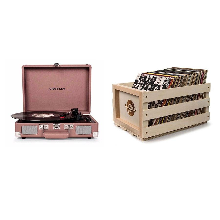 "Crosley ""Crosley Cruiser Deluxe Portable Turntable - Purple Ash + Free Record Storage Crate"""