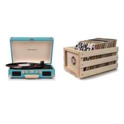 "Crosley ""Crosley Cruiser Deluxe Portable Turntable - Turquoise + Free Record Storage Crate"""