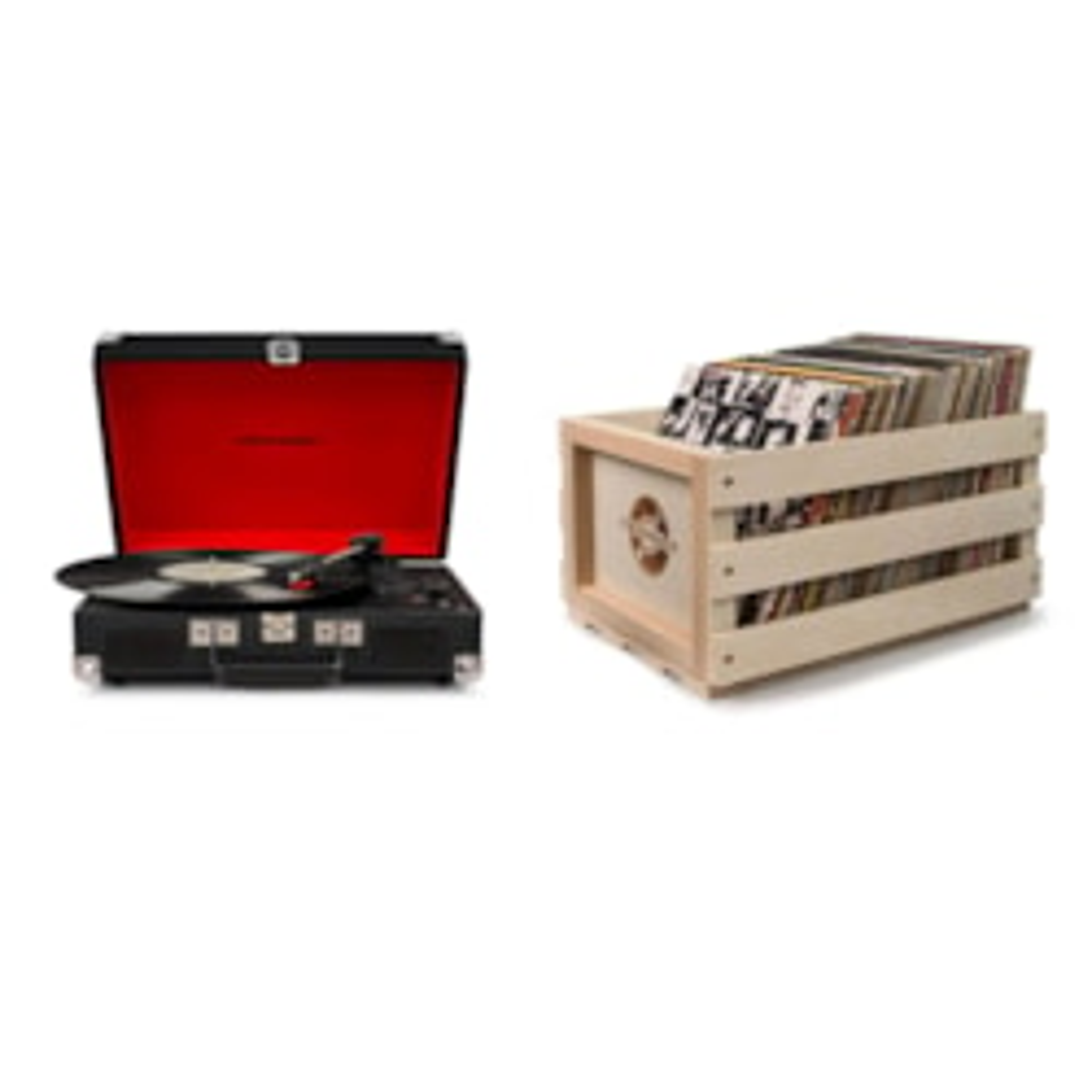 "Crosley ""Crosley Cruiser Deluxe Portable Turntable (Black) + Free Storage Crate"""
