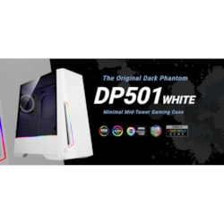 Antec DP501 White Atx Argb Front Led, Led Control, Tempered Glass, 2.5' X 4, 3.5' X 2, 7X PCI.1x 120MM Pre-Installed Gaming Case. 2 Years Warranty