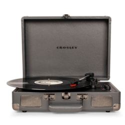 Crosley Cruiser Deluxe Portable Turntable - Slate + Free Record Storage Crate