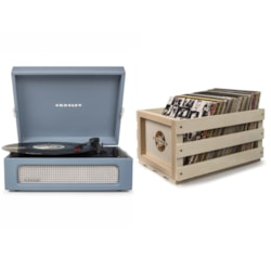 Crosley Voyager Portable Turntable - Washed Blue + Free Record Storage Crate
