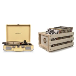 Crosley Cruiser Deluxe Portable Turntable - Fawn + Free Record Storage Crate