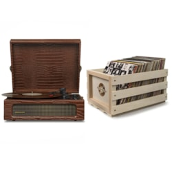 Crosley Voyager Portable Turntable - **Limited Edition** Brown Croc + Free Record Storage Crate